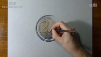 2 euro coin 3D realistic drawing