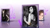 紫色花纹装饰着充满回忆的照片