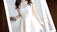 2015年韩国黑色白色韩版夏装新款蕾丝绣花欧根纱修身连衣裙