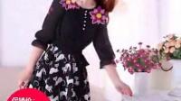 2015夏季新款韩版女装七分袖修身碎花印花A字雪纺连衣裙
