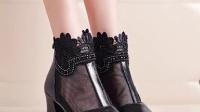 欧美春夏新款网纱真皮鱼嘴鞋女士蕾丝边防水台粗跟凉鞋潮拉链凉靴