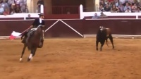 法国女斗牛士被牛顶翻后回手活割牛耳 150526