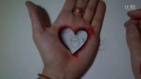 【藤缠楼】牛人手绘手掌心形洞3D画 (恶搞情人的手掌3D画)