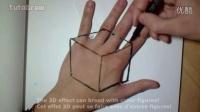 【藤缠楼】牛人手绘一个在手掌背上的立方体3D画
