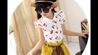 夏季童装女童2015新款夏装韩版潮儿童衣服中大童短袖短裤休闲套装