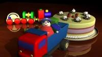 A5四岁生日庆祝红色玩具卡车拉奶油水果生日蛋糕