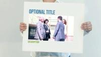 公司员工手拿白板白纸宣传推广介绍展示企业产品业务视频AE模板
