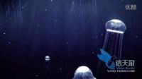 7456神秘大自然海底生物水母三维动画游动上升光斑亮点光线光束视频素材