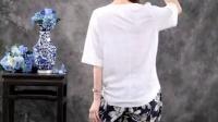 文艺复古民族风亚麻短袖印花显瘦短款体恤棉麻T恤