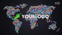 AE模板3184-社交网络图标Logo标志汇聚成世界地图AE模板