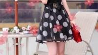 2015夏季新款女装 韩版时尚镂空短袖连衣裙 网纱拼接波点女裙