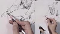「国君美术」刘雪松人物速写坐姿_坐姿打开工具箱的女青年_速写教学视频