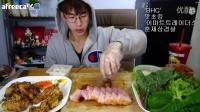 【微博@学姐宿舍】奔驰哥吃播-150919韩国吃播-烧肉两大大大大块+葱香辣味炸鸡
