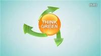 AE模板作品 三绿色箭头环绕标志动画 Think Green 1581150