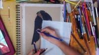 外国彩铅专家画 《花千骨彩铅笔肖像》