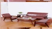 北欧宜家小户型客厅复古木扶手皮艺沙发组合日式小茶几
