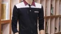 B2015灰色日常黑色男士长袖t恤秋季修身棉打底衫男装衣服翻领