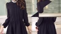 M334-9185实 秋季休闲修身显瘦气质纯色长袖圆领雪纺连衣裙女