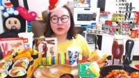 【微博@学姐宿舍】爱凤吃播-芝士汉堡套餐+紫菜包饭+巧克力饼干+炒年糕