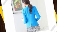2016年春装新款韩版女装长袖修身撞色一粒扣西装女西服小外套