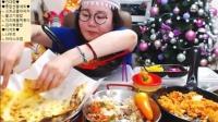 【微博@学姐宿舍】爱凤吃播-披萨+炒肉饭+泡菜炒饭+海鲜炒年糕