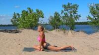 美女瑜伽系列 大腿前侧拉伸训练 有效瘦大腿