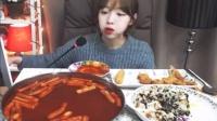 韩国afreeca美女主播Shoogis直播吃饭-神殿炒年糕、芝士、奶酪,金枪鱼盖饭杆