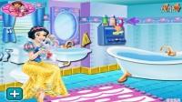 白雪公主浴室凊洁  浴室浴缸洗干净了和白雪公主一起洗白白了  好喜欢之亲子小游戏 中
