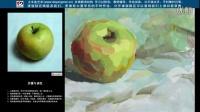 色彩 水粉 水粉静物 色彩基础 色彩入门 绿苹果的画法步骤(四)