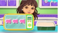 朵拉巧克力香蕉蛋糕趣味小游戏视频解说 一起跟朵拉学做蛋糕