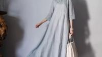 2016新款包邮中国风精细纯麻长款高腰中式文艺复古宽松旗袍连衣裙