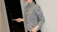 2016年春季女装修身灰色长袖百搭修身半高领衬衫新款特价