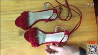 欧美2016绑带女士鞋 小码镂空中高跟一字扣女鞋 粗跟真皮流苏凉鞋_直接购买商品