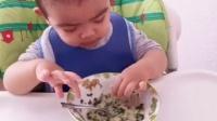 #轩吃饭#轩的早餐:菠菜小米粥,黑面包#直...|皓轩MAMA
