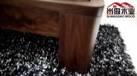 尚岛木业纯实木家具北美黑胡桃木蝴蝶结床头实木双人床