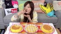 大胃王木下 中文 三个半熟黏糊糊味道超级浓厚的鸡蛋蛋糕 【美食杂货铺】