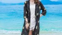 2016夏季中长印花防晒衣七分袖外套开衫民族风沙滩装雪纺女装特价