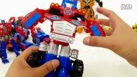 红黄两组玩具车总动员 百变机器人战士玩具集