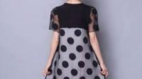 时尚夏季新品大码圆点连衣裙短袖网纱圆领宽松裙子女装特价