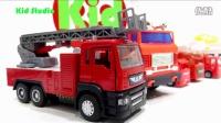 飞燕传媒 玩具卡车和摩托车VS起重机消防车 玩具总动员 赛车总动员 儿童玩具试玩 601