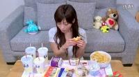 大胃王  木下佑香  一頓吃掉  【大食い】  汉堡月亮3种LL套餐 香芋奶酪球  尝试了3个全新的汉堡麦当劳