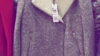 【清款】拉夏梭织夹棉斜门襟中长款毛呢大衣 女10009276,200件,全清38元,本仓库长期经营四季一线大牌专柜类女装
