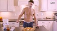 帅哥为你制作美味可口的披萨