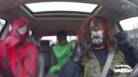 超级英雄在车里跳舞 毒液,屠杀,危害和绿巨人!有趣的电影
