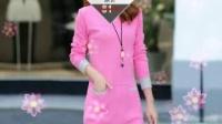 2016年秋季新款精品欧美女装修身针织衫中长款拼色长袖连衣裙