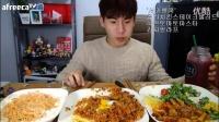 韩国吃播吃播剪说话大胃王奔驰小哥吃奶油意面炒饭肉_标清