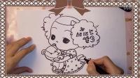 简笔画-韩国卡通可爱小女孩