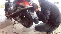 电动车维修换二手真空胎加自补液1