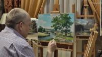 油画绘画演示——夏天的树林