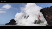 壮观!夏威夷火山喷发  岩浆翻滚注入大海